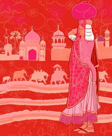 kel: Vektorové ilustrace indické dekor s ženou a slony Ilustrace