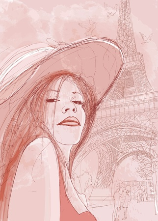 vector illustration of a woman in autumn in Paris Vector