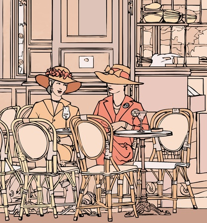 Vector illustration of two elegant parisian women having cocktail in a cafe  Vector