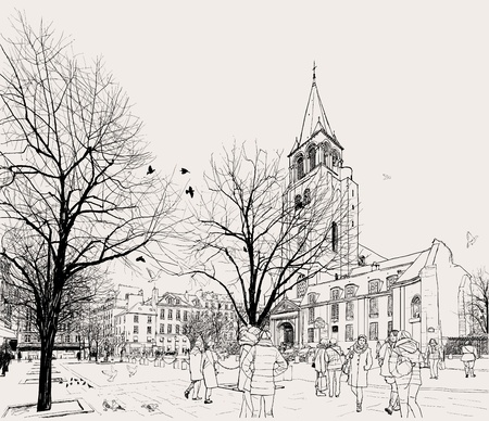 Vector illustration of St-Germain-des-Pres area in Paris Illusztráció