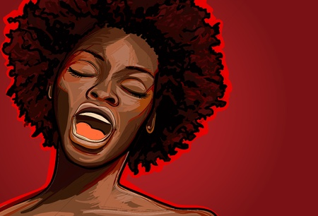 Vector illustration of an afro american jazz singer  Vector