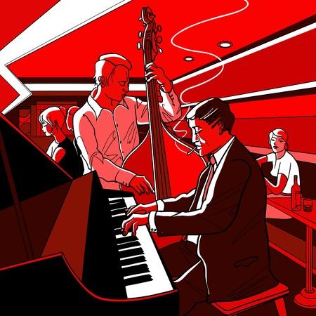 joueur de piano: Vector illustration d'un groupe de jazz Illustration