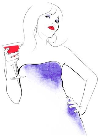 illustration of a woman drinking cocktail Illusztráció