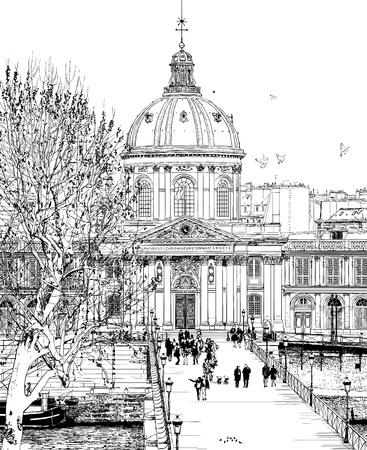 seine: illustratie van de Pont des Arts in Parijs Stock Illustratie