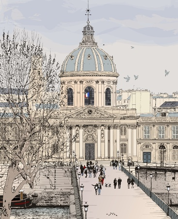 Vector illustration of Pont des arts in Paris
