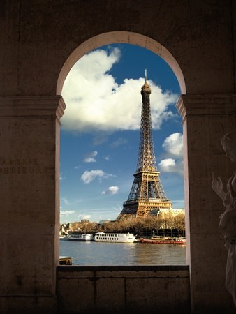 towers: France - Paris - Eiffel tower and Seine river