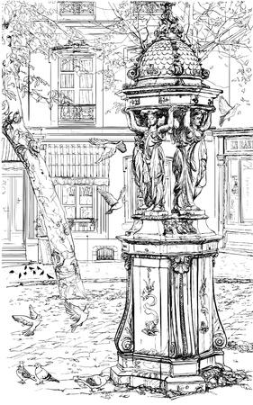 fountain: Ilustraci�n vectorial de una antigua fuente de Montmartre - Par�s