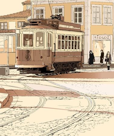 ポルト - ポルトガルの典型的な路面電車のベクトル イラスト