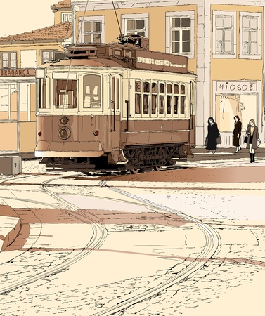porto: Vector illustration of a typical tramway  in Porto - Portugal
