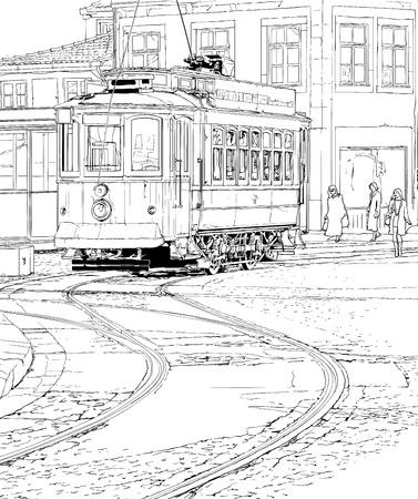 tramway: illustrazione di un tram tipico Porto - Portogallo