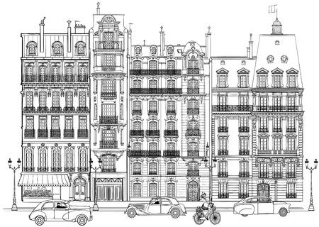 illustratie van de gevels in Parijs