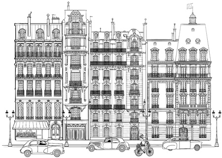 history architecture: illustration of facades in Paris