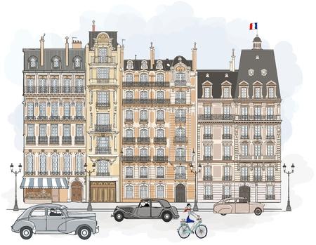 パリにおけるファサードの図  イラスト・ベクター素材