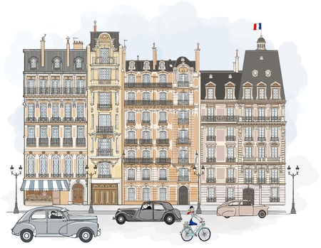 illustration of facades in Paris
