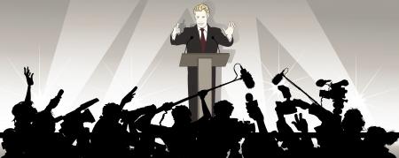 スピーカーのイラストが政治キャンペーンで聴衆に対処します。