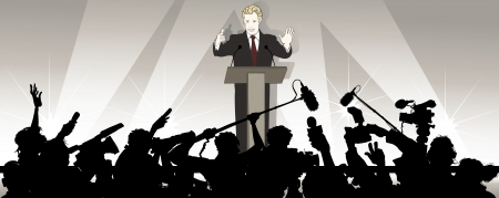 press conference:  illustration of a speaker addresses an audience in a political campaign