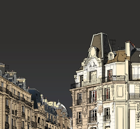 balcony: Vector illustration of facades in Paris in a stormy weather