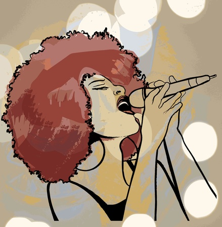 karaoke: Vector illustration of an afro american jazz singer on grunge background Illustration