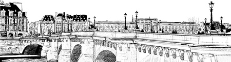 seine: illustration of a view of Paris (pont neuf)