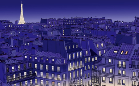illustration of roofs in Paris at night Vector
