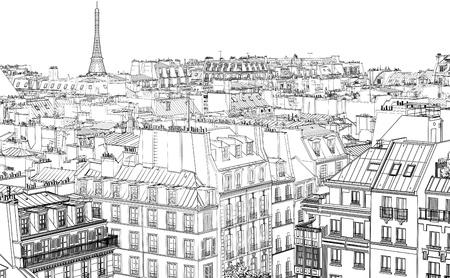 夜のパリの屋根の図  イラスト・ベクター素材