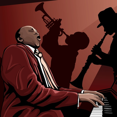 pianista: Ilustraci�n vectorial de una banda de jazz Vectores
