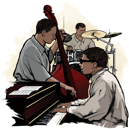 band instruments: Vector illustration of a jazz band Illustration