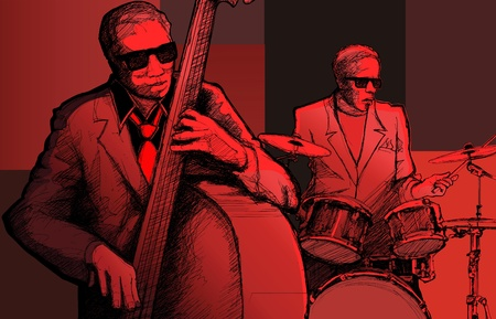 drum and bass: Vector illustration of a jazz band Illustration