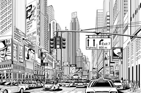 cruce de caminos: Ilustraci�n de una calle en la ciudad de Nueva York