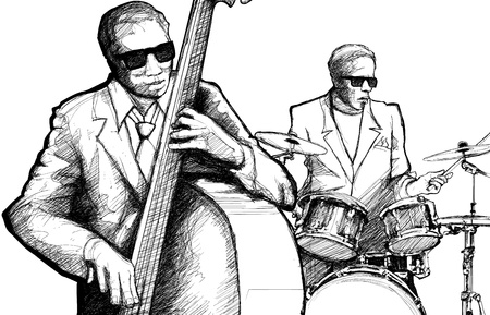 bass drum: Vector illustration of a jazz band Illustration