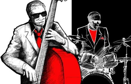 Vector illustration of a jazz band Illusztráció