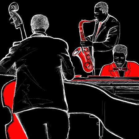 orchestra: illustration of a jazz band with double-bass piano and saxophone