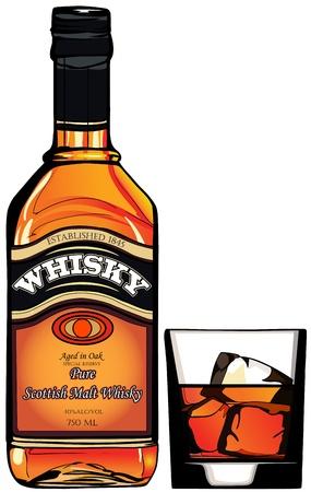 botella de whisky: Ilustración de una botella de whisky y un vaso