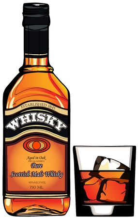 scotch: ilustracja z butelką whisky i kieliszek Ilustracja