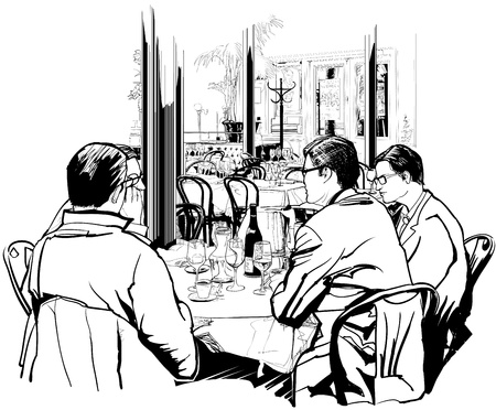 Business lunch in a nice restaurant Vector