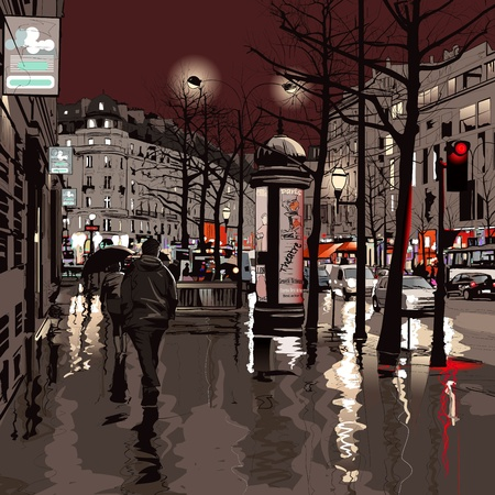 walking in the rain: Illustration of a boulevard in Paris at night