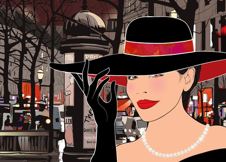 Illustration of a woman strolling  boulevard in Paris at night Vector
