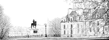 seine: illustratie van een uitzicht over Parijs (Pont Neuf)