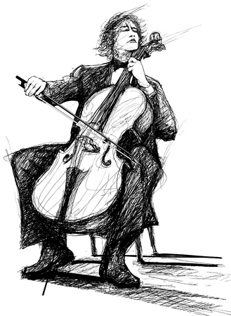 cellist: Illustration of a violoncellist playing