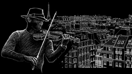illustration of a violinist on a backround of roofs in Paris