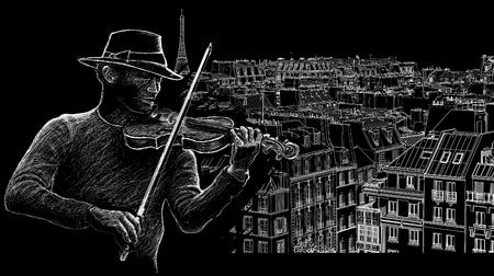 violist: illustratie van een violist op een achtergrond van het dak in Parijs