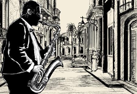 soprano saxophone: Ilustración de un saxofonista en una calle de Cuba Vectores