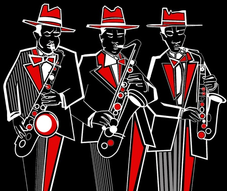 playing music: Illustration of three saxophonists on a black background Illustration