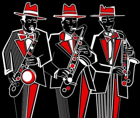 soprano saxophone: Ilustraci�n de tres saxofonistas sobre un fondo negro Vectores
