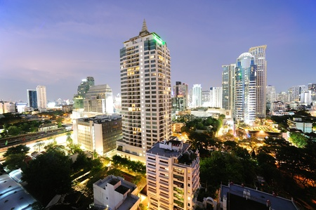 Night view of  Bangkok near Sukhumvit Stock Photo - 13216915