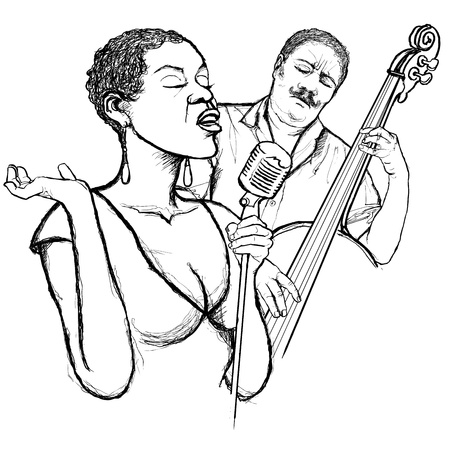 karaoke singer: Illustration of an afro american jazz singer with double-bass player Illustration