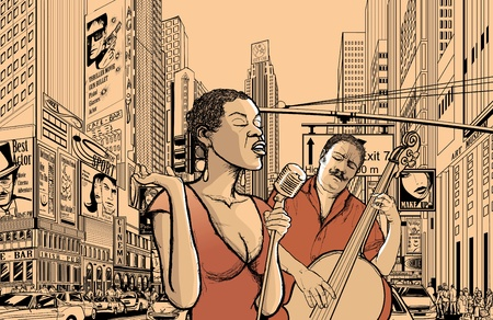 crossroads: Illustration of an afro american jazz singer with double-bass player in a street of new york