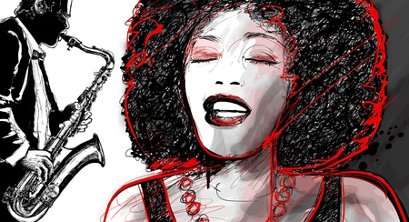 afro: Illustration of an afro american jazz singer with saxophone player Illustration