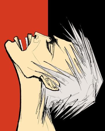 faccia disperata: illustrazione di un uomo che gridava per il dolore o la rabbia Vettoriali