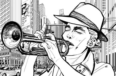 Illustrazione di un trombettista in una strada di New York
